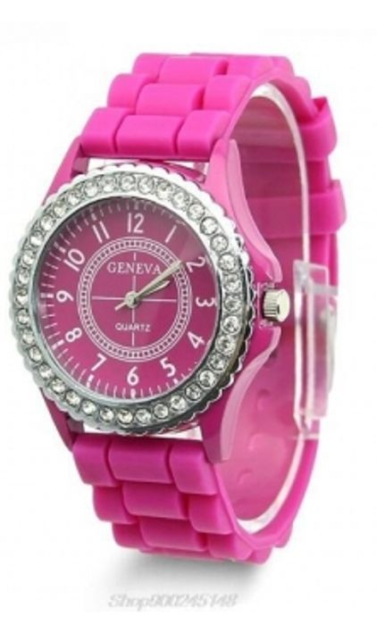 Geneva Women's Watch with Crystal Case - Hot Pink - P&P Applies