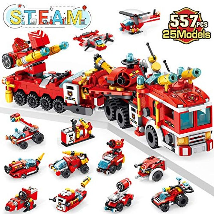 Save 40%- Fire Engine Toy for Kids, 557 Pcs