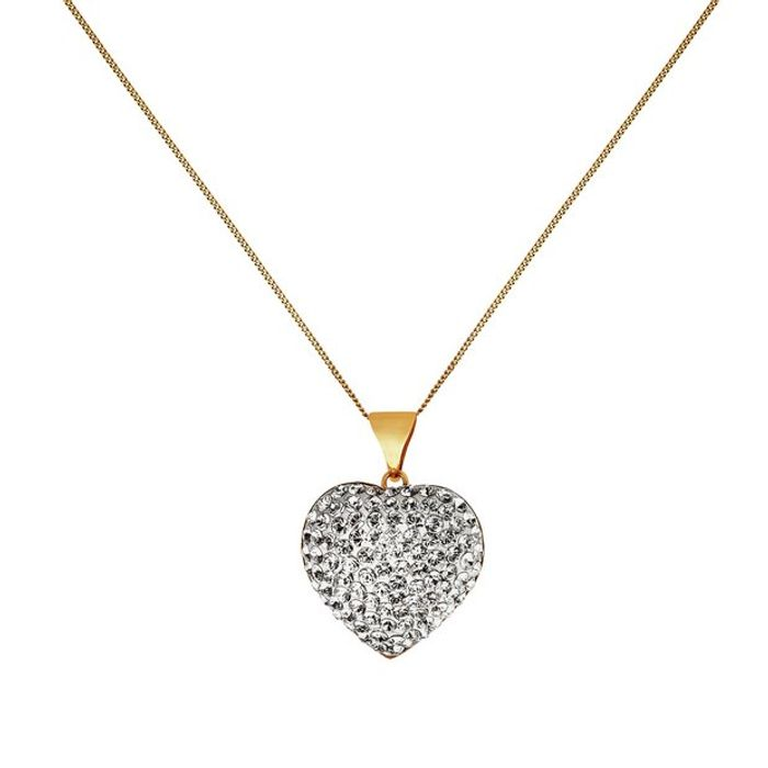 Revere 9ct Yellow Gold Crystal Dome Heart Pendant Necklace