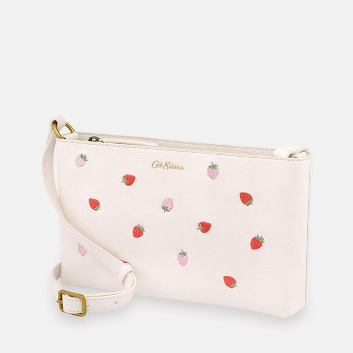 Cath Kidston - Beige 'Sweet Strawberries' PVC Small Zipped Cross Body Bag