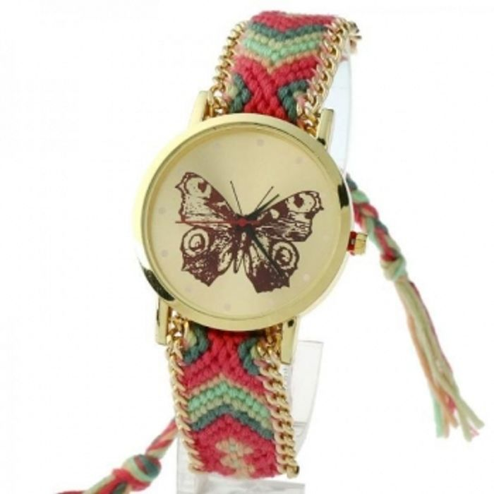 Ladies Buttterfly Braided Band Watch