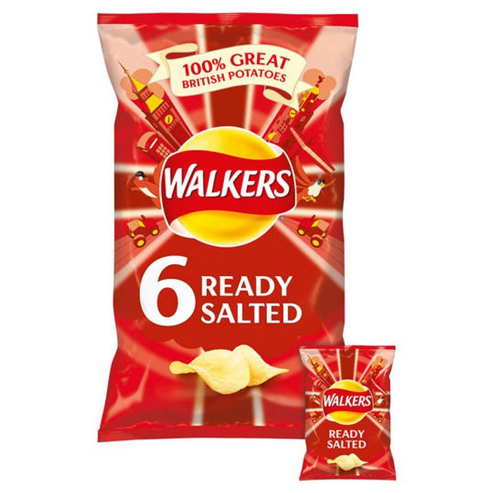 Cheap Walkers Ready Salted Crisps 6x25g - Only £1!