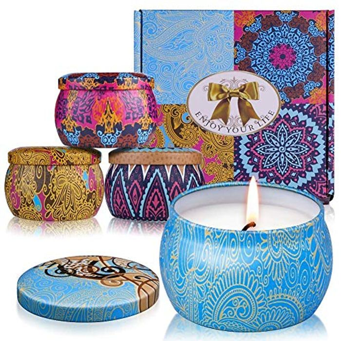 Candles Scented Candles Candle Gift Set 4 Iron Pots