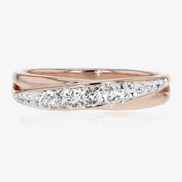 Swarovski Crystals Rose Gold Finish Crossover Ring