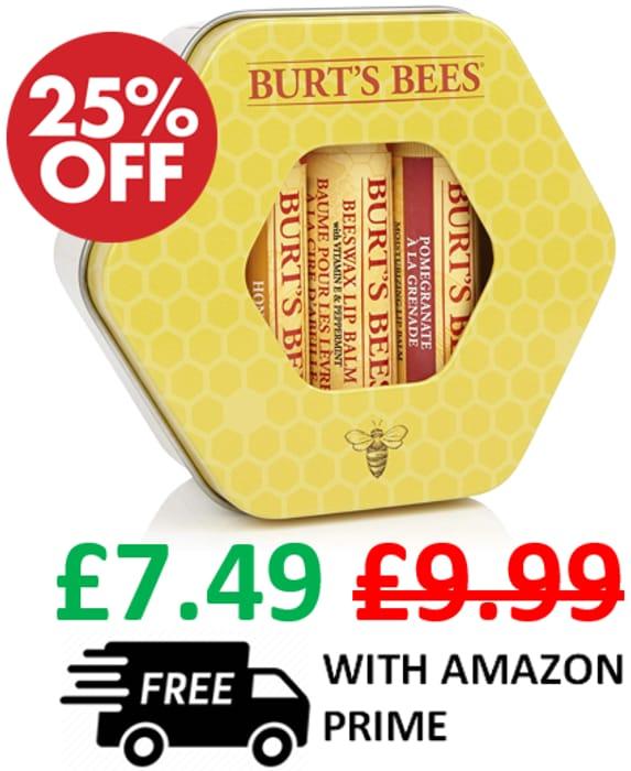 25% off - Burt's Bees Lip Balm Trio Moisturising Gift Set in a Tin