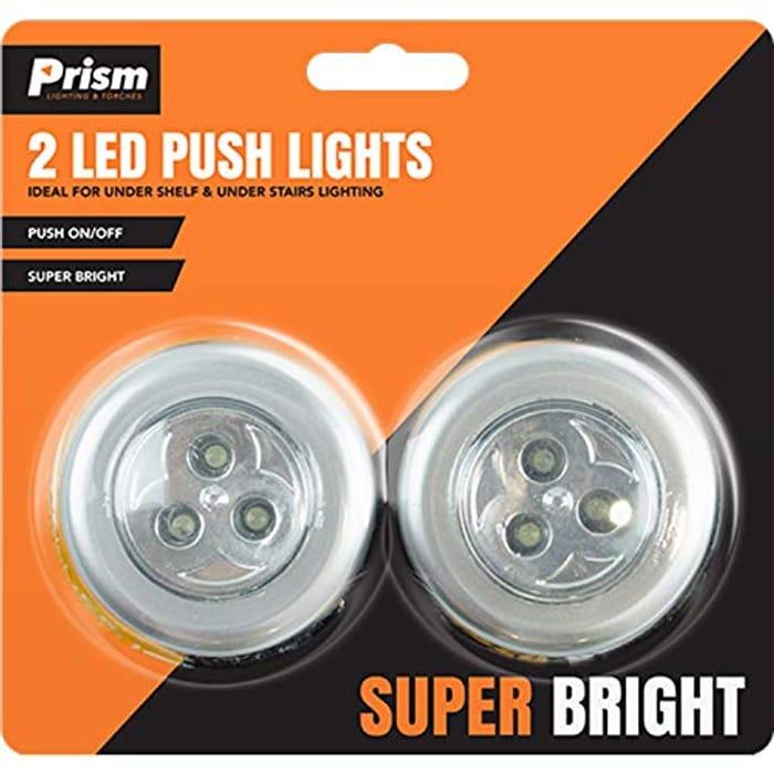 2 X LED Cupboard Push Lights Super Bright SELF Adhesive