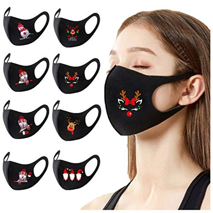 8 PCS Adults Ice Cotton Christmas Printed Face Protection Masks