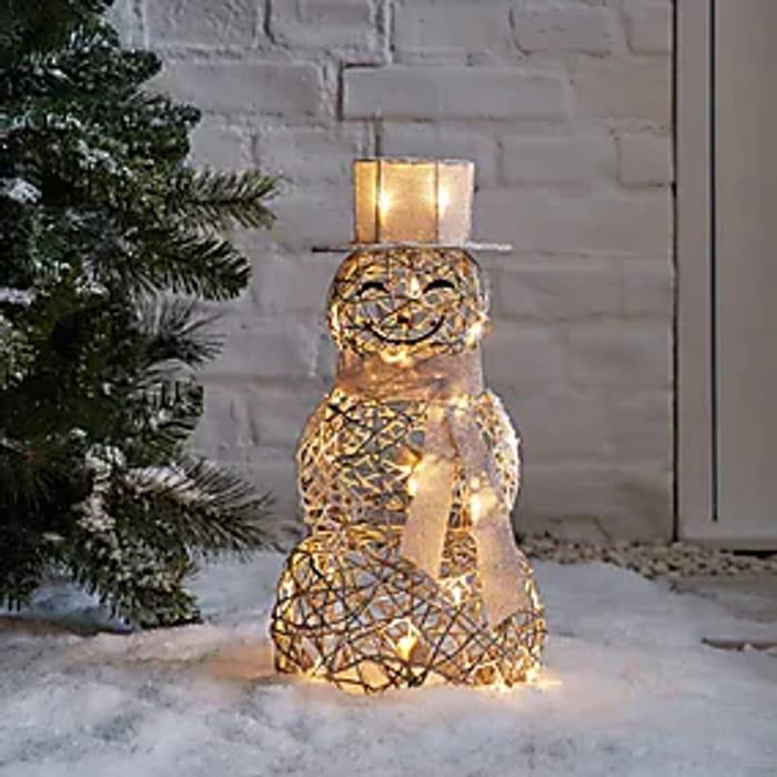 Light up Rattan Snowman Silver - Only £13!