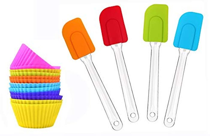 4 PCS Kitchen Silicone Spatula and 15 Pack Reusable Silicone Cupcakes