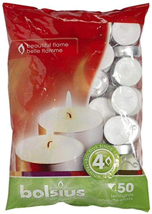 "Bolsius 4 Hour Burning Tealights, Bag ""50"""