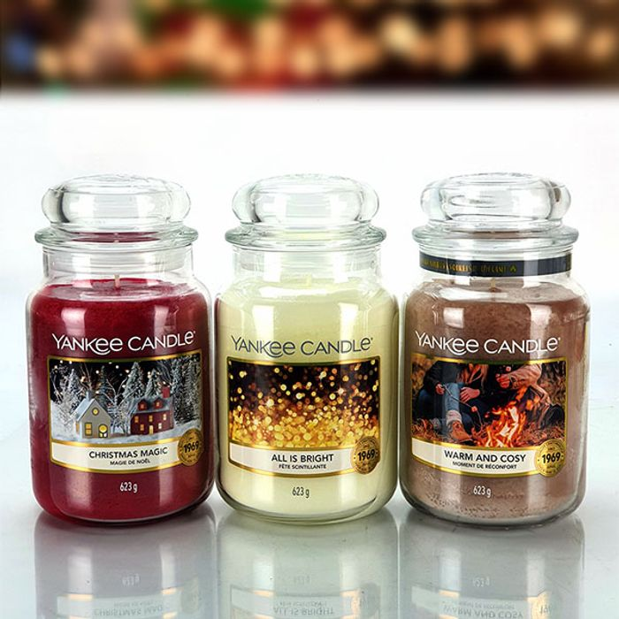 3 X Official Yankee Candle Classic Signature 623g Large Jars Festive