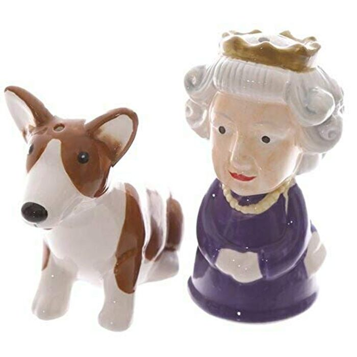 Novelty Salt and Pepper Set Queen and Corgi British FREE DELIVERY
