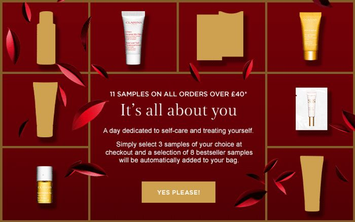 Clarins - 11 Free Samples On Orders Over £40 + Free Delivery