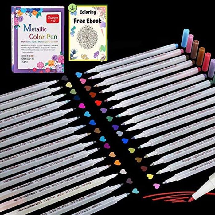 Save 60%- 30 Colours Metallic Marker Pens