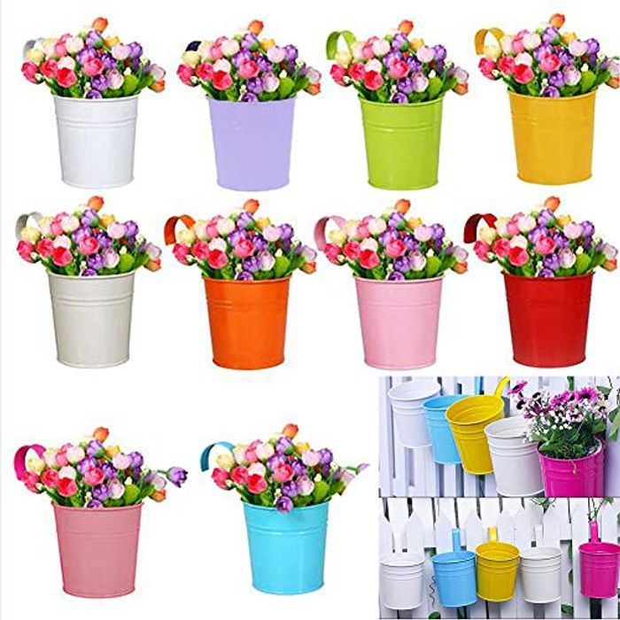 10 X Pretty Flower Pots 50% off Only £12.99 (Prime Delivery)