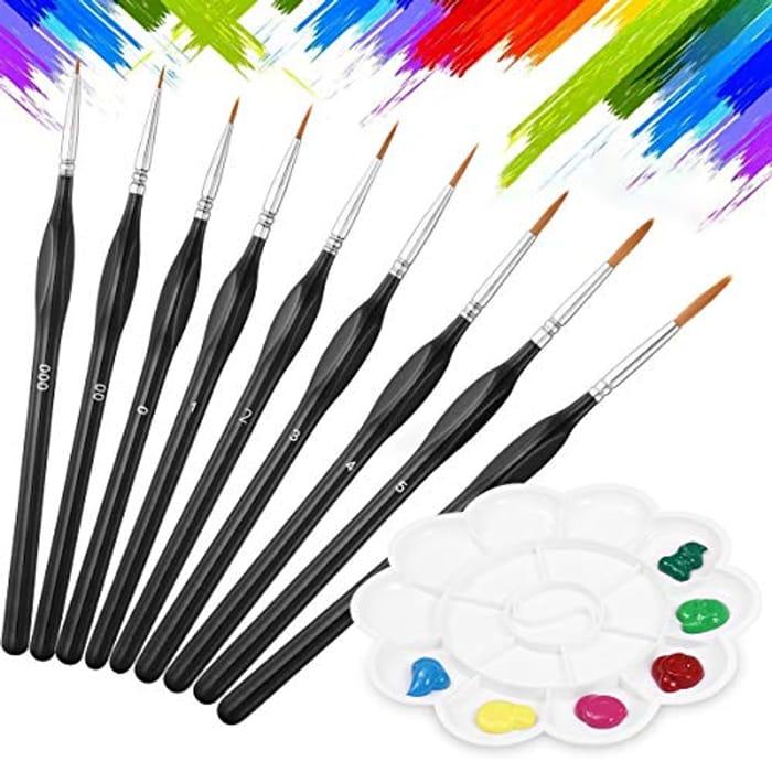 9 PC Paint Brush Set include 1 Palettes for Watercolor (code & 40% voucher)