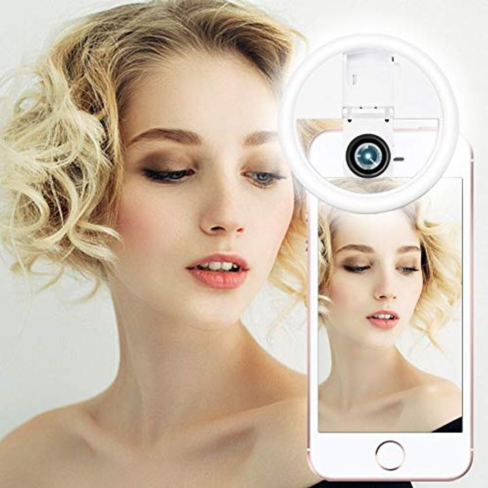 Rechargeable Clip on Selfie Ring Light with Macro Camera Lens