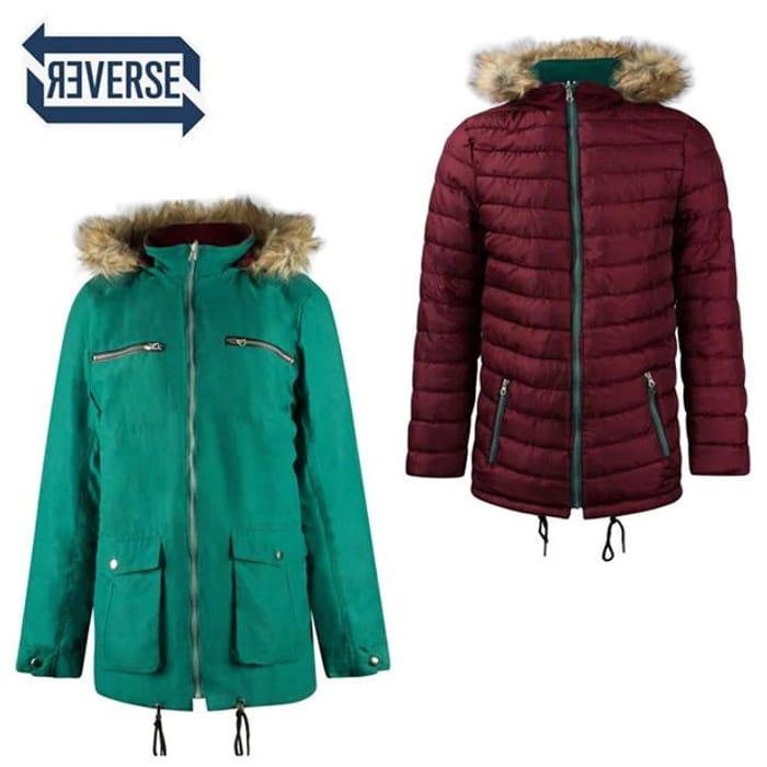 LEE COOPER Faux Fur Hood Reversible Jacket Menst