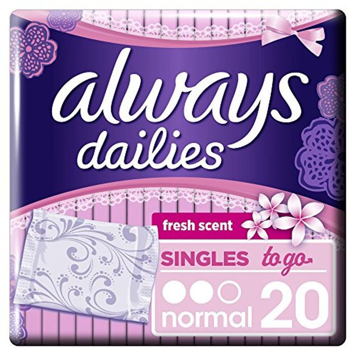 Always Dailies Singles to Go 20 Pantyliners Normal