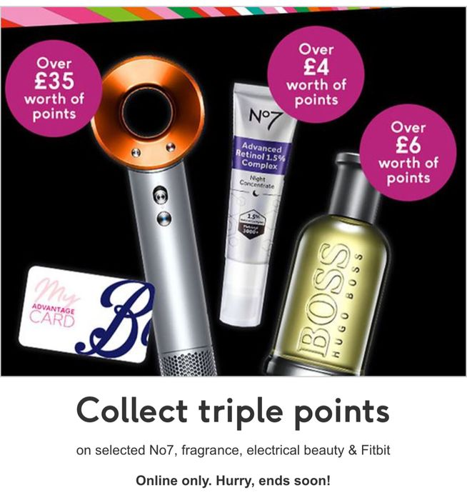 Collect Triple Points on Selected No7, Fragrance, Electrical Beauty & Fitbi