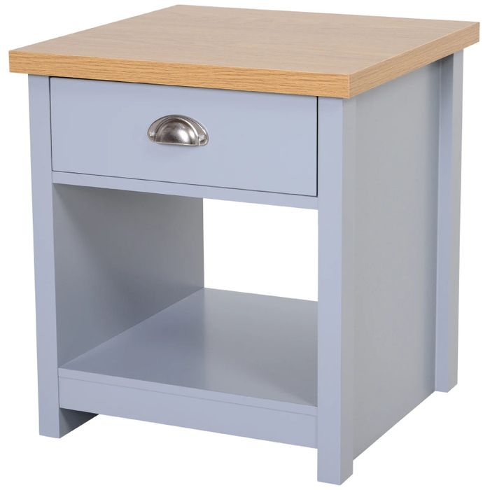 HOMCOM MDF Rustic Single Draw Bedside Table Grey Free Delivery