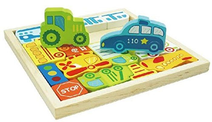 Integrity Co Car and Transport Wooden Jigsaw Puzzle Play Set
