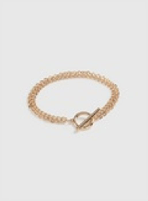 T- Bar Gold Tone Chain Bracelet