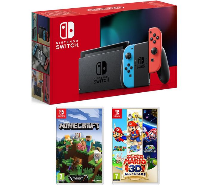 *SAVE over £30* NINTENDO Switch, Super Mario 3D All-Stars & Minecraft Bundle