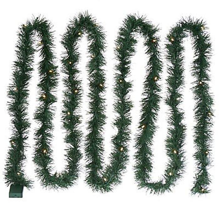 5.49m (18ft) Pre-Lit LED Green Christmas Garland