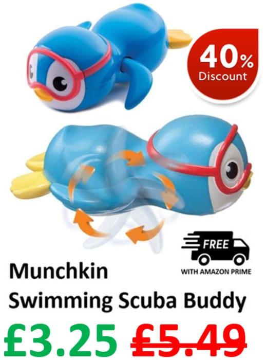 CHEAP! BATH TOY - Munchkin Swimming Scuba Buddy - Wind-Up Bath Toy