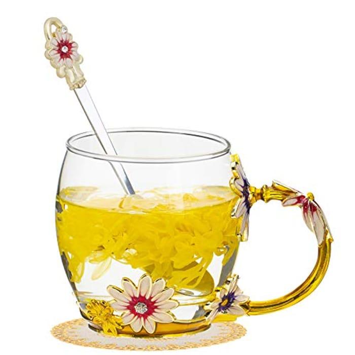 DEAL STACK - TKLake Lead-Free Enamel Flower Glass Mug/Coffee Mug