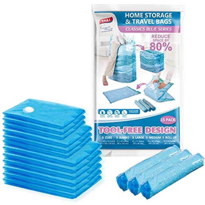 Deal Stack! Vacuum Storage Space Saver Bags Cube 15-Combo Pack