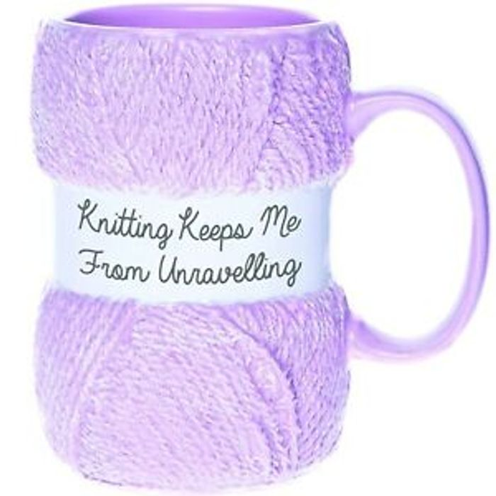 'Knitting Keeps Me From Unravelling' Knitting Yarn Mug *Multi Buy Available