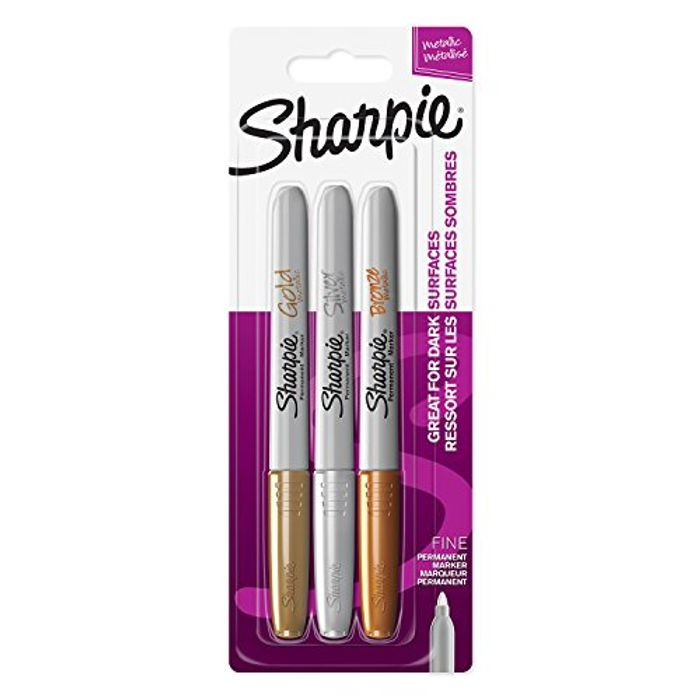 Sharpie Fine Point Permanent Marker - Assorted Metallic Colours (Pack of 3)