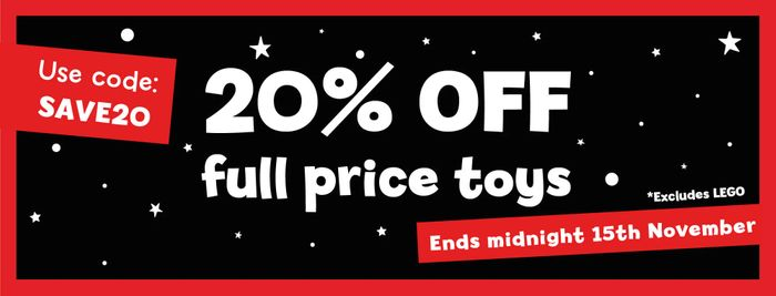 20% off Full Price Toys