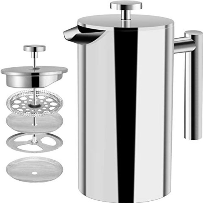 French Coffee Press - Double Wall 100% Stainless Steel -/ 1 Litre / 8 Cups