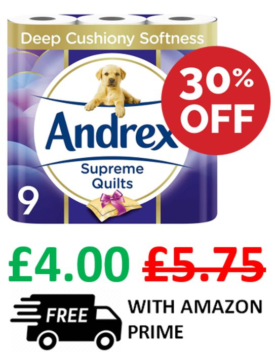 Andrex Supreme Quilts Toilet Rolls - 9 Rolls + FREE DELIVERY with PRIME