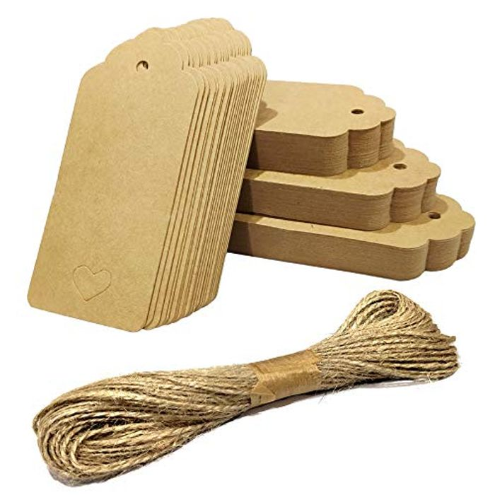 50 Pcs Kraft Paper Gift Tags with 20M Natural Jute