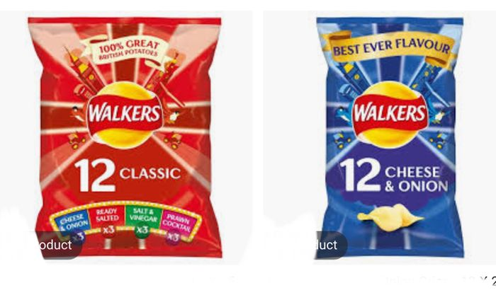Walkers Ready Salted/Classic Variety/Cheese & Onion Crisps 12 X 25G