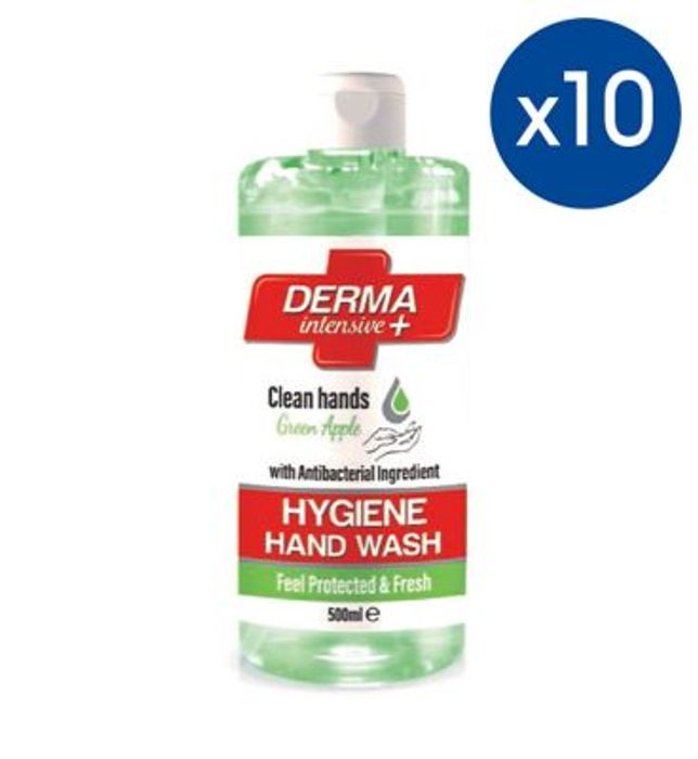 10 Pack of Mellor & Russell Derma Intensive + Hygiene Hand Wash Apple 500ml