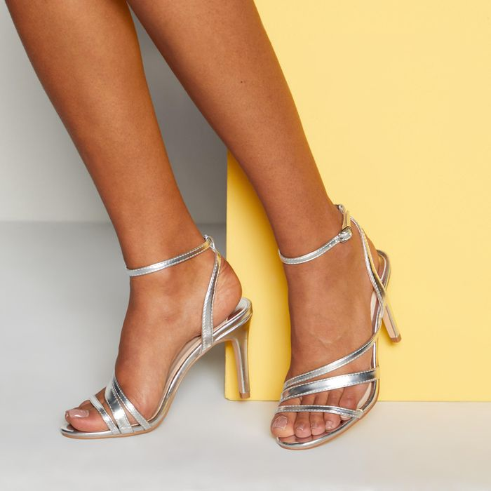 Faith - Silver Ankle Strap 'Dellie' High Stiletto Heel Sandals