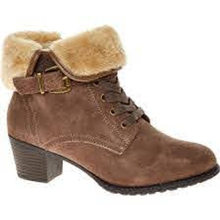 HUSH PUPPIES Taupe Suede Heeled Ankle Boots