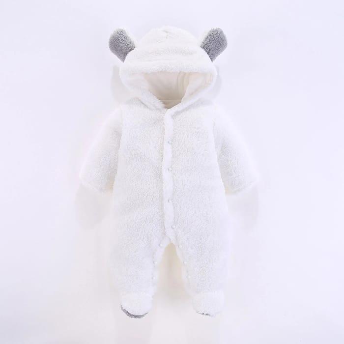 Baby 3D Bear Design Winter Fleece Hooded Jumpsuit