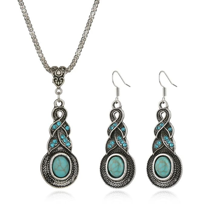 Tibetan Silver Pendant Necklace/Earrings Set