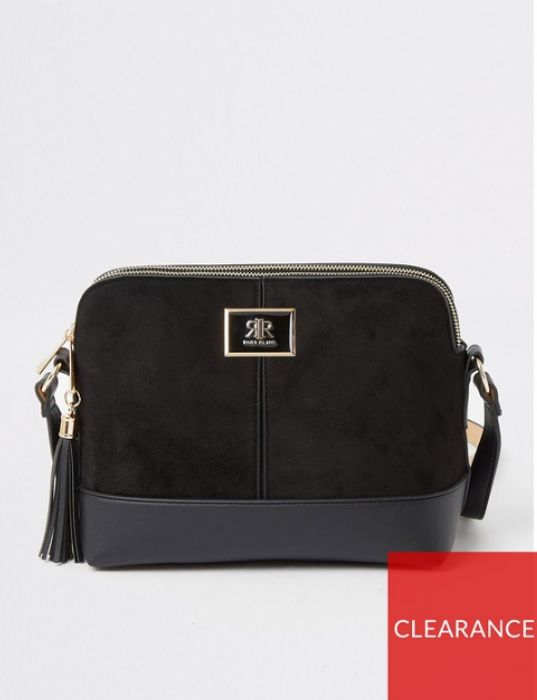 Double Compartment Cross Body Bag - Black