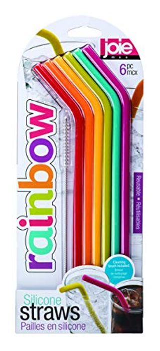 Joie Rainbow Reusable Silicone Straws with Cleaning Brush, Set of 6