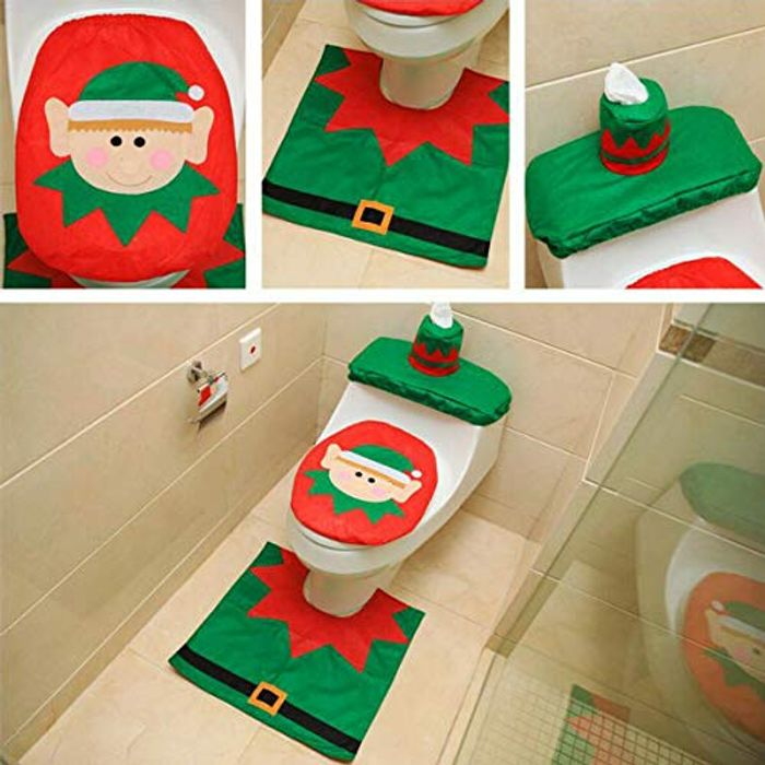 Christmas Elf Toilet Seat Cover and Mat Bathroom Set