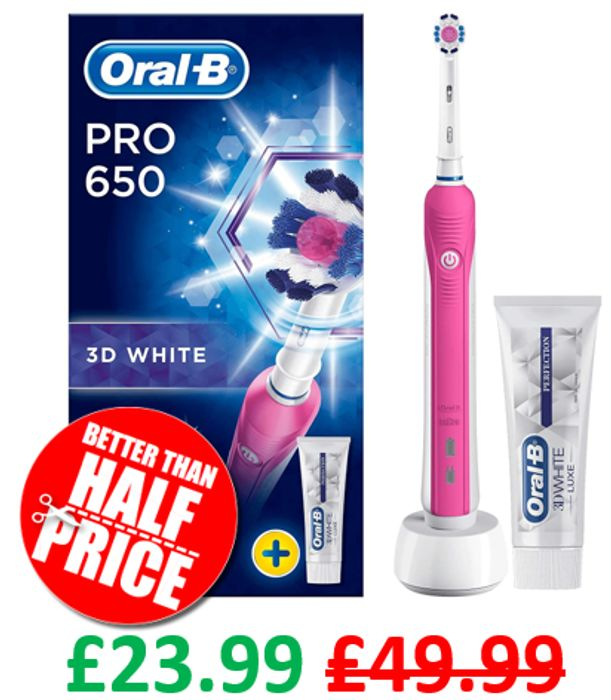 Oral-B Pro 650 3D White Electric Rechargeable Toothbrush   PINK or BLACK