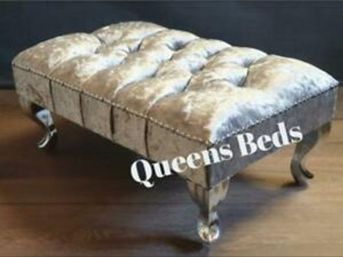 Stunning Footstool In Silver Crush Velvet With Queen Legs & Free P&P