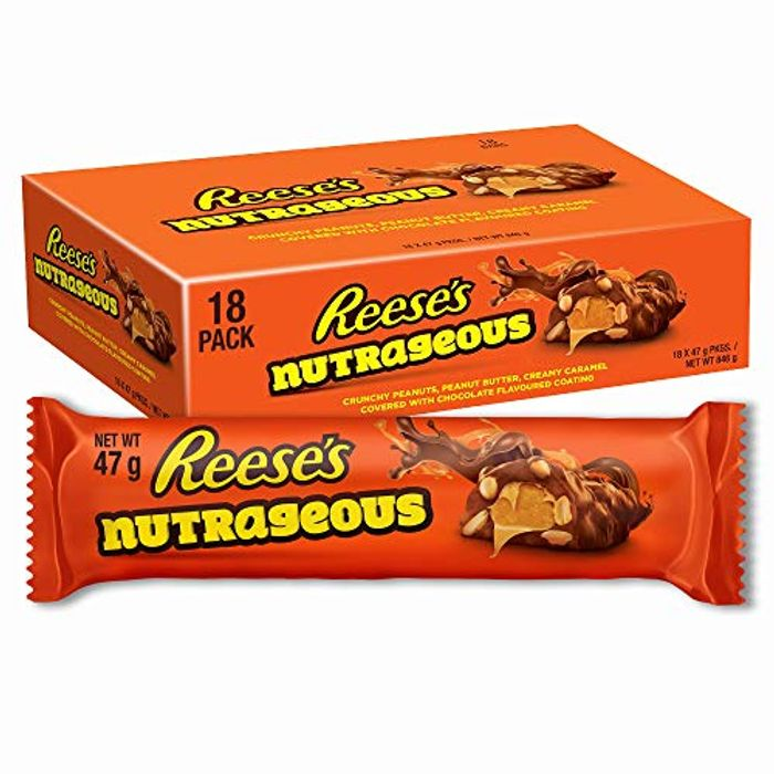 Reese's Peanut Butter Nutrageous Bars, Milk Choco Flavour Pack of 18 X 47 G
